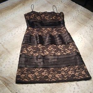 S.L. Fashions Black and Tan Lace Midi Dress